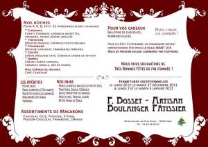 Flyer de Noël Boulangerie 2011-2012