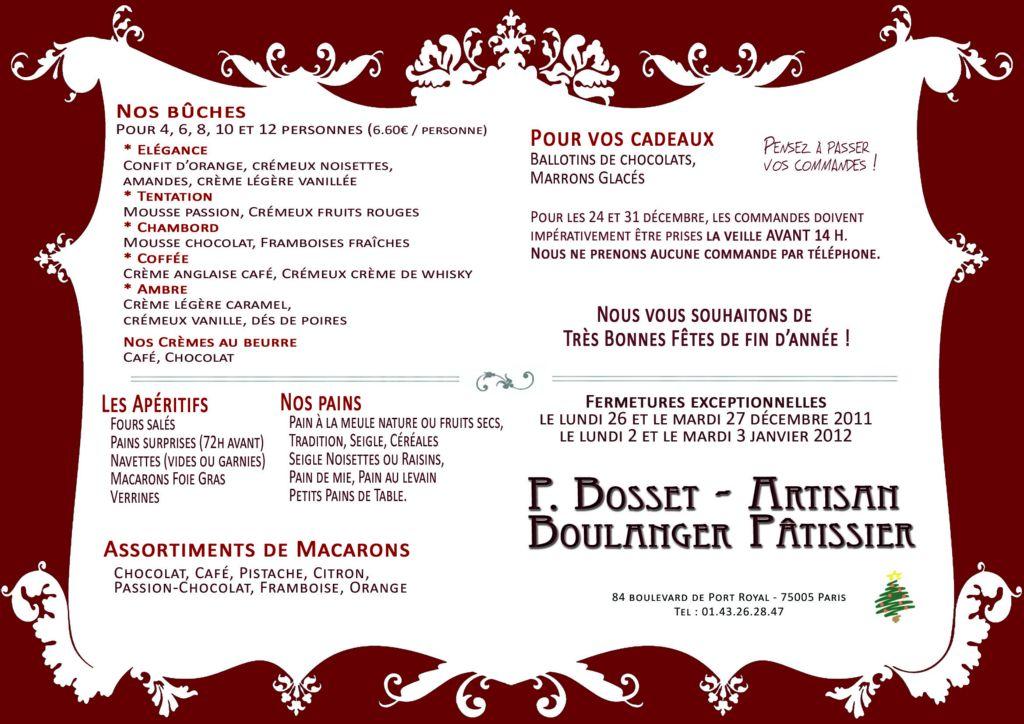Flyer de Noël 2011-2012 pour une Boulangerie Pâtisserie