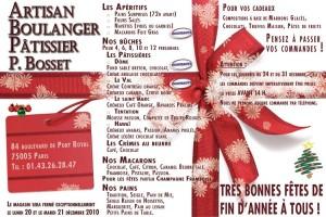 Flyer de Noël Boulangerie 2010-2011